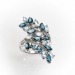 925 SS SKY BLUE, LONDON BLUE TOPAZ LUXURY WEAR NORTH SOUTH BY-PASS RING