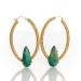 Picture of 18Kt Yellow Gold Australian Black Opal Hoop Earrings